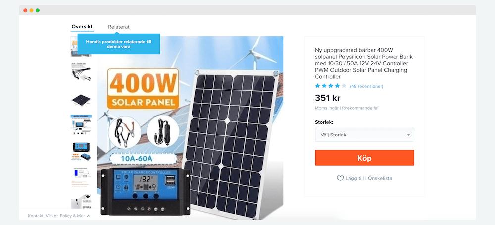 billiga solceller på nätet