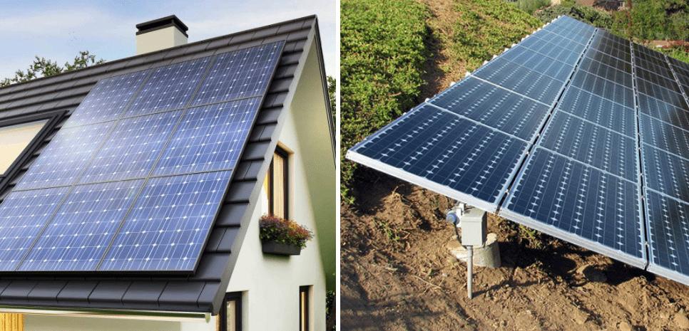 solpaneler på tak eller mark